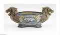 Ceramics & Porcelain, Continental:Other , A Czechlosovakian Ceramic Centerpiece. Unknown maker. TheCzechlosovakian centerpiece with dragon headed handles and ocean...