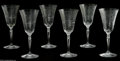 Other:American, Six American Cut Glass Goblets. Maker unknown, Twentieth Century.The matching set of six wine goblets, cut to depict flow... (6Items)