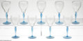 Other:Contemporary, Nine Wine Glasses. Maker unknown, Twentieth Century. The group ofnine wine glasses with blue stem and base, ribbed pear s... (9Items)