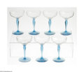 Other:American, Seven Champagne Glasses. Maker unknown, Twentieth Century. Thegroup of seven champagne glasses with blue stem and base, r... (7Items)