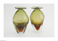 Art Glass:Other , Two American Art Glass Vases Blenko, c.1964 The matching vases withcased clear base of red moves to green body with eve... (2 Items)