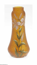 Art Glass:Other , An American Art Glass Vase Maker unknown, c.1900 The amber balusterform vase in a crackelure finish with an enameled fl...