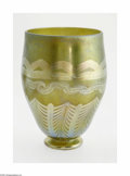 Art Glass:Other , An American Art Glass Vase Maker unknown, Twentieth Century The iridized green ground vase with iridescent golden pulled... (1 )