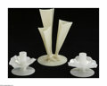 Glass, Two American Glass Candlesticks and a Vase Steuben, c.1925 The cream color vase with three components joining at a share... (3 Items)