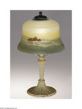 Art Glass:Other , An American Glass and Metal Lamp Pittsburgh Lamp Co., c.1900 Theart glass shade with detailed oceanic scene of ship, ro...