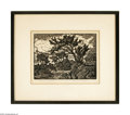 Prints:American, Birger Sandzen (American, 1871-1954) River Nocturn Wood print 8in.x 6.5in. Signed and titled lower margin: Birger Sandz...