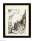 Prints:American, C. Avard Village Street Scene Etching 7.5in. x 8.5in. Signed lowerright...