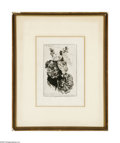 Prints:American, James David Smillie (1833-1909) Hollyhocks, A Study, 1889 Etchingon paper 9.5 x 7in. Signed bottom margin: No.15. The...