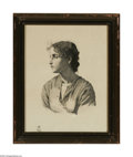Prints:American, Hans Heyer Women's Portrait on Silk, 2 Sept. 1871 Print on silk11in. x 14in. Signed and dated lower right (on woman's a...