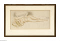 Prints:European Modern, Gustave Brisgand (French 1880-1950) Lounging Nude Lithograph 23in.x 11in. Signed lower right Labeled verso with artist...