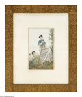 Fine Art - Painting, American:Other , Unknown artist Maiden on a Hilltop Watercolor, colored pencil10.5in. x 17in....