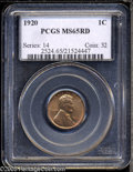 """Lincoln Cents: , 1920 1C MS65 Red PCGS. The current Coin Dealer Newsletter(Greysheet) wholesale """"bid"""" price is $170.00...."""