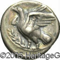 Ancients:Greek, Ancients: Bruttium, Kroton. Ca. 425-ca. 350 B.C. AR nomos (21 mm,7.80 g). Eagle standing left on olive-branch, head raised and wings...