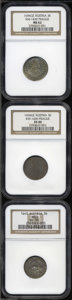 Austria: , Austria: Trio of Early Certified Minors, Ferdinand Charles 3Kreuzer 1643 Hall KM852, AU58 NGC, and Leopold the Hogmouth-BohemiaKM59... (Total: 3 Coins Item)