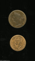 British Honduras: , British Honduras: Victoria Cent 1888, KM6, glossy red and brown AU-UNC, 2 small spots, and KM21 Cent 1939, choice UNC, nearly fully red.... (Total: 2 coins Item)