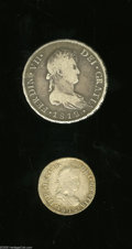 Chile: , Chile: Ferdinand VII Silver Pair, KM79 2 Reales 1813-FJ, AVF,adjustment marks and an odd indent on the obverse, and KM80 8Reales ... (Total: 2 coins Item)