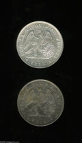 Chile: , Chile: Republic Pair of Silver Pesos, KM129, 1853, lustrous AXF,very lightly cleaned but far above average for this type, and1854... (Total: 2 coins Item)