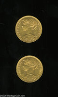 Chile: , Chile: Republic gold 5 Pesos - Pair, KM159, 1898, XF, and 1900,AXF, scarcer date.... (Total: 2 coins Item)