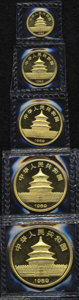 China: , China: People's Republic gold Panda Set 1989, KM-PS27, comprising KM187-191, gem Proof in the case of issue.... (Total: 5 Coins Item)