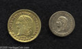 Colombia: , Colombia: Estados Unidos gold Pair, KM146.1 Peso 1863, crude Fine,possibly ex-mount, and KM-A154 2 Pesos 1872 Medellin, nice VF-XF,o... (Total: 2 Coins Item)