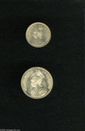 German East Africa: , German East Africa: Colonial Silver Tandem, KM3 1/4 Rupie 1891, lightly toned AU, full mint luster, and KM4 1/2 Rupie 1891, choice brilliant UNC... (Total: 2 coins Item)