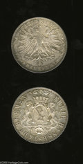 German Lots: , German Lots: Nice States pair as follows: Bremen 36 Grote 1859, KM243, lightly toned UNC with minor handling marks; and a Frankfurt Gulde... (Total: 2 Coins Item)