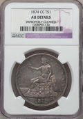 Trade Dollars: , 1874-CC T$1 -- Improperly Cleaned -- Details NGC. AU. NGC Census: (6/214). PCGS Population: (21/299). CDN: $1,000 Whsle. Bi...