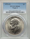 Eisenhower Dollars, (3)1976-D $1 Type Two MS66 PCGS. PCGS Population: (936/28). NGC Census: (513/20). CDN: $45 Whsle. Bid for problem-free NGC/... (Total: 3 coins)