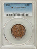 Half Cents: , 1832 1/2 C MS63 Brown PCGS. PCGS Population: (48/60). NGC Census:(33/33). CDN: $390 Whsle. Bid for problem-free NGC/PCGS M...