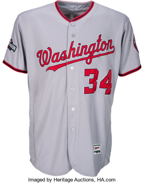 brand new f8cf8 ef314 2016 Bryce Harper Game Worn Washington Nationals Jersey with ...