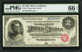 Large Size:Silver Certificates, Fr. 241 $2 1886 Silver Certificate PMG Gem Uncirculated 66 EPQ.. ...