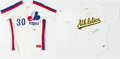 Autographs:Jerseys, Tim Raines and Dennis Eckersley Signed Jerseys Lot of 2.. ...