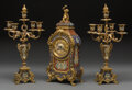 Decorative Arts, French:Other , A Three-Piece Louis XV-Style GIlt Bronze and Champlevé Cl...