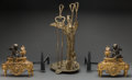Decorative Arts, French:Other , A Pair of Louis XVI-Style Gilt and Patinated Bronze Figural Chenetswith Crane Fireplace Stand and Tools, 19th century. 21 i... (Total:6 Items)