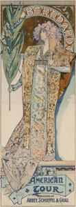 Prints & Multiples, Alphonse Mucha (Czechoslovakian, 1860-1939). Sarah Bernhardt/ American Tour, 1896. Lithograph in colors on paper. 76 x 2...