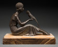 Sculpture, After Demetre Chiparus (Romanian). Lady & Parrot. Bronze with brown patina and marble. 8-1/2 inches (21.6 cm) high on 1 ...