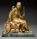 Fine Art - Sculpture, European:Antique (Pre 1900), Leon Pilet (French, 1840-1916). Native American Woman withBow. Gilt bronze. 8-1/4 inches (21.0 cm) high on a 1 inch(2....