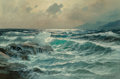 Fine Art - Painting, American:Contemporary   (1950 to present)  , Alexander Dzigurski (Russian/American, 1911-1995). Waves Alongthe Shore. Oil on canvas. 24 x 36 inches (61.0 x 91.4 cm)...