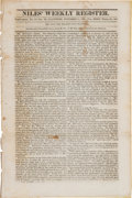 Miscellaneous:Newspaper, Jim Bowie's Vidalia Sandbar Fight, Account in Niles WeeklyRegister, November 17, 1827....
