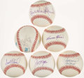 Autographs:Baseballs, Hall of Fame Single Signed Baseballs Lot of 6.. ...
