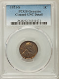 Lincoln Cents, 1931-S 1C -- Cleaned -- PCGS Genuine. UNC Details. NGC Census: (2/419). PCGS Population: (2/469). CDN: $130 Whsle. Bid for ...