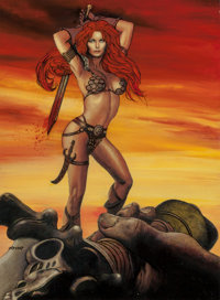 Ron Lesser (American, 20th Century) Red Sonja Triumph Mixed media on board 23 x 16.5 in. (sight)<