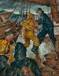 Amos Sewell (American, 1901-1983) Peg-legged Captain Oil on board 32 x 24 in. (sight) Signed l