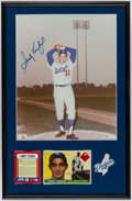 Autographs:Photos, Sandy Koufax Signed Photograph Display With 1955 Topps RookieCard!...