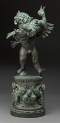 Sculpture, Frederick William MacMonnies (American, 1863-1937). Boy and Duck, conceived 1895, cast 1902. Bronze with verdigris patin... (Total: 2 Items)