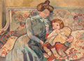 Paintings, Louis Valtat (French, 1869-1952). Mère et enfant, 1910. Oil on canvas. 38-1/2 x 51 inches (97.8 x 129.5 cm). Initialled ... (Total: 2 Items)