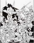 Original Comic Art:Covers, Stan Sakai Teenage Mutant Ninja Turtles/Usagi Yojimbo Cover Original Art (IDW, 2017)....