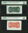 Fractional Currency:Third Issue, Fr. 1272SP 15¢ Third Issue Wide Margin Green Back PMG Choice Uncirculated 64.. Fr. 1273SP 15¢ Third Issue Wide Margin Red ... (Total: 2 notes)