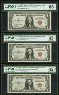 Small Size:World War II Emergency Notes, Fr. 2300 $1 1935A Hawaii Silver Certificates. Three ConsecutiveExamples. PMG Gem Uncirculated 65 EPQ.. ... (Total: 3 notes)