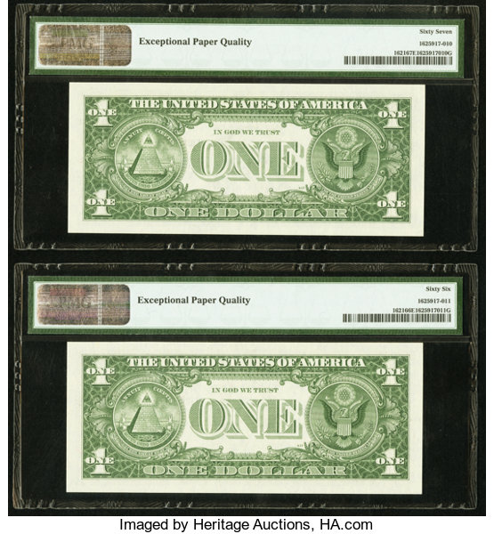 Low Serial Number Fr. 1621 $1 1957B Silver Certificates. | Lot ...